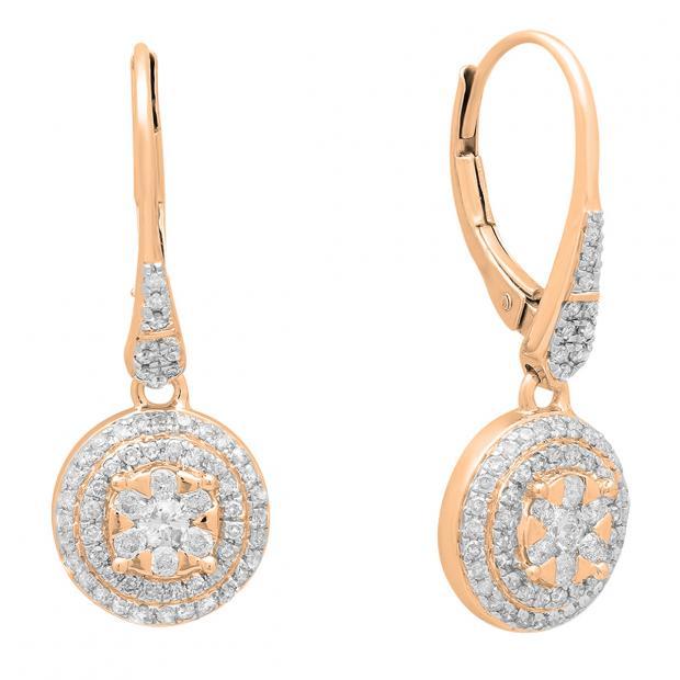 0.70 Carat (ctw) 18K Rose Gold Round White Diamond Ladies Cluster Flower Shaped Drop Earrings