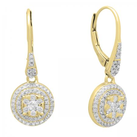 0.70 Carat (ctw) 18K Yellow Gold Round White Diamond Ladies Cluster Flower Shaped Drop Earrings