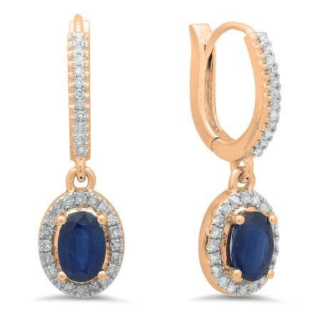 1.70 Carat (ctw) 10K Rose Gold Oval Cut Blue Sapphire & Round Cut White Diamond Ladies Halo Style Dangling Drop Earrings