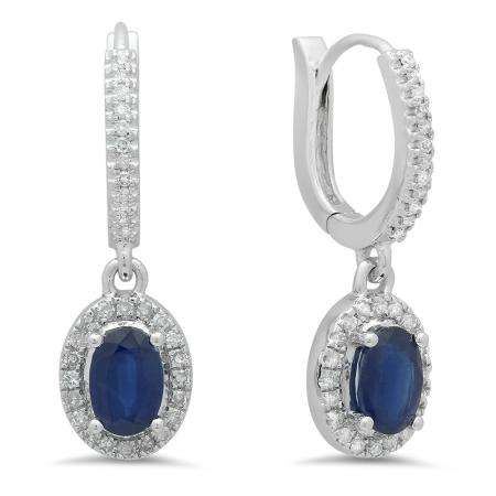 1.70 Carat (ctw) 18K White Gold Oval Cut Blue Sapphire & Round Cut White Diamond Ladies Halo Style Dangling Drop Earrings