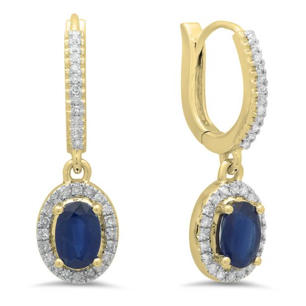1.70 Carat (ctw) 18K Yellow Gold Oval Cut Blue Sapphire & Round Cut White Diamond Ladies Halo Style Dangling Drop Earrings