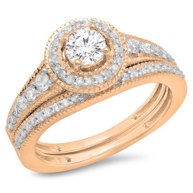 0.85 Carat (ctw) 14K Rose Gold Round Diamond Ladies Halo Style Bridal Engagement Ring With Matching Band Set