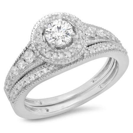 0.85 Carat (ctw) 18K White Gold Round Diamond Ladies Halo Style Bridal Engagement Ring With Matching Band Set