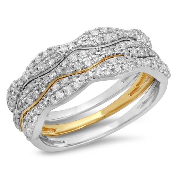 0.70 Carat (ctw) Designer 10K White & Yellow Gold Two Tone Round White Diamond Wedding Anniversary Stackable 3 Pcs Band
