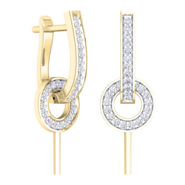 0.30 Carat (ctw) 10K Yellow Gold Round White Diamond Ladies Fashion Dangling Earrings