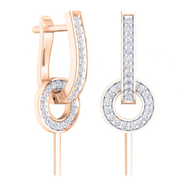 0.30 Carat (ctw) 14K Rose Gold Round White Diamond Ladies Fashion Dangling Earrings