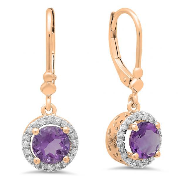 1.90 Carat (ctw) 10K Rose Gold Round Amethyst & White Diamond Ladies Halo Style Dangling Drop Earrings