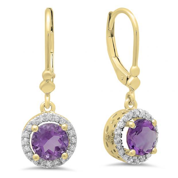 1.90 Carat (ctw) 14K Yellow Gold Round Amethyst & White Diamond Ladies Halo Style Dangling Drop Earrings