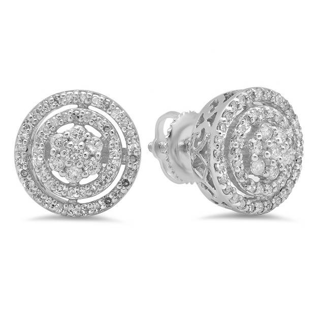 0.60 Carat (ctw) 10K White Gold White Diamond Ladies Cluster Flower Stud Earrings 1/2 CT