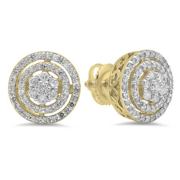 0.60 Carat (ctw) 10K Yellow Gold White Diamond Ladies Cluster Flower Stud Earrings 1/2 CT
