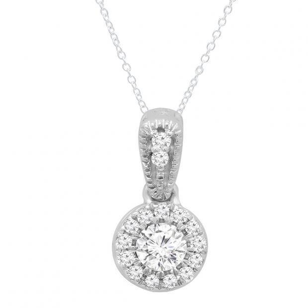 0.25 Carat (ctw) 10K White Gold Round White Diamond Ladies Halo Style Pendant 1/4 CT