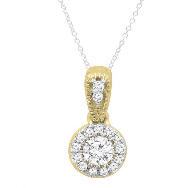 0.25 Carat (ctw) 10K Yellow Gold Round White Diamond Ladies Halo Style Pendant 1/4 CT