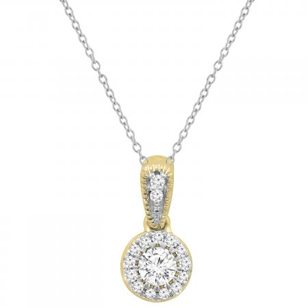 0.25 Carat (ctw) 18K Yellow Gold Round White Diamond Ladies Halo Style Pendant 1/4 CT