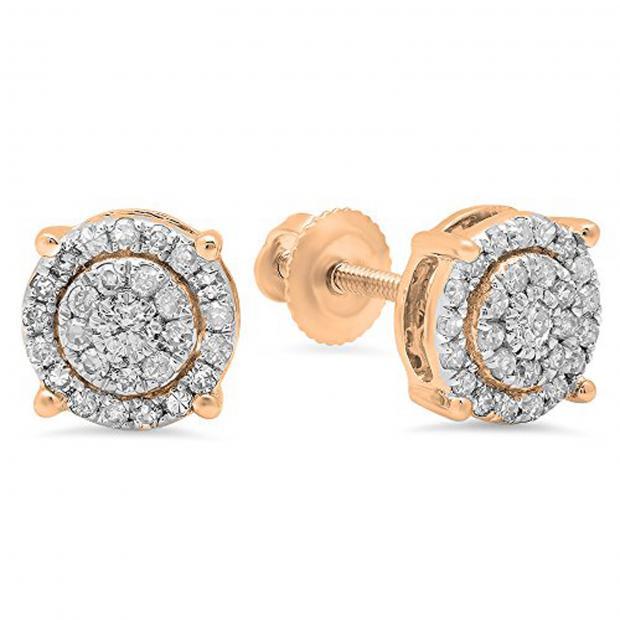 0.35 Carat (ctw) 10K Rose Gold Round Cut White Diamond Ladies Circle Halo Stud Earrings