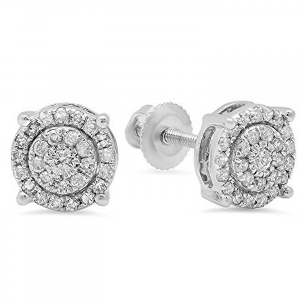 0.35 Carat (ctw) 10K White Gold Round Cut White Diamond Ladies Circle Halo Stud Earrings