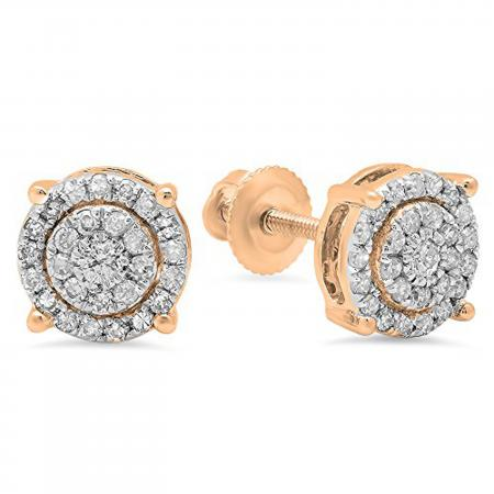 0.35 Carat (ctw) 14K Rose Gold Round Cut White Diamond Ladies Circle Halo Stud Earrings