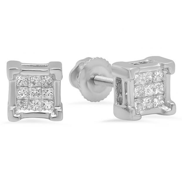 0.25 Carat (ctw) 14K White Gold Princess Cut White Diamond Ladies Square Shape Stud Earrings 1/4 CT