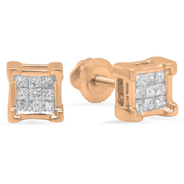 0.25 Carat (ctw) 18K Rose Gold Princess Cut White Diamond Ladies Square Shape Stud Earrings 1/4 CT