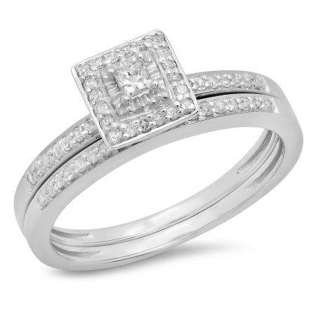 0.30 Carat (Ctw) Sterling Silver Princess & Round Cut Diamond Ladies Bridal Halo Engagement Ring With Matching Band Set