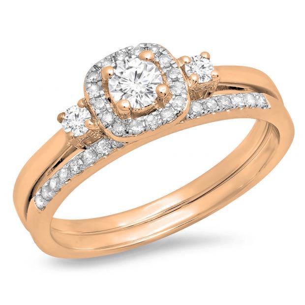 0.45 Carat (Ctw) 10K Rose Gold Round White Diamond Ladies 3 Stone Halo Bridal Engagement Ring With Matching Band Set
