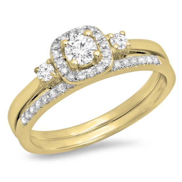 0.45 Carat (Ctw) 10K Yellow Gold Round White Diamond Ladies 3 Stone Halo Bridal Engagement Ring With Matching Band Set