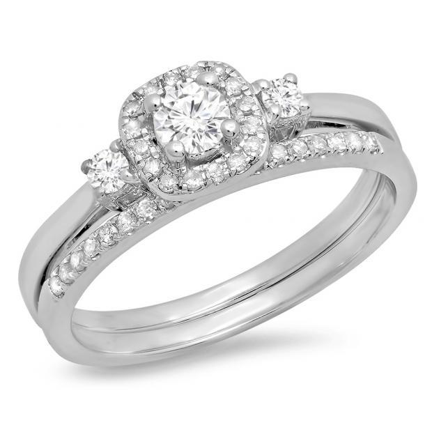 0.45 Carat (Ctw) 14K White Gold Round White Diamond Ladies 3 Stone Halo Bridal Engagement Ring With Matching Band Set
