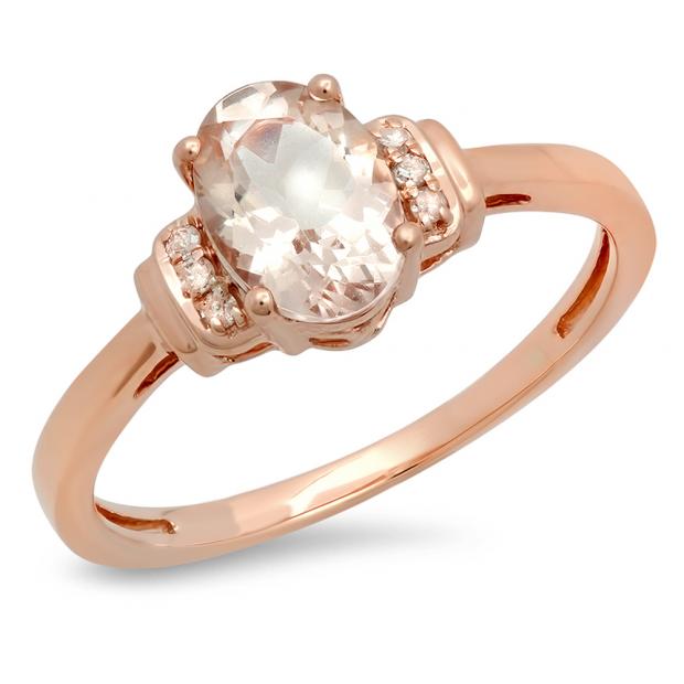 1.10 Carat (ctw) 14K Rose Gold Oval Cut Morganite & Round Cut White Diamond Ladies Bridal Promise Engagement Ring