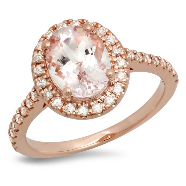 2.20 Carat (ctw) 10K Rose Gold Oval Cut Morganite & Round Cut White Diamond Ladies Halo Bridal Engagement Ring