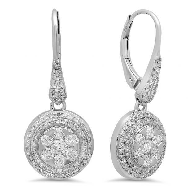 1.30 Carat (ctw) 14K White Gold Round Cut White Diamond Ladies Cluster Style Drop Earrings