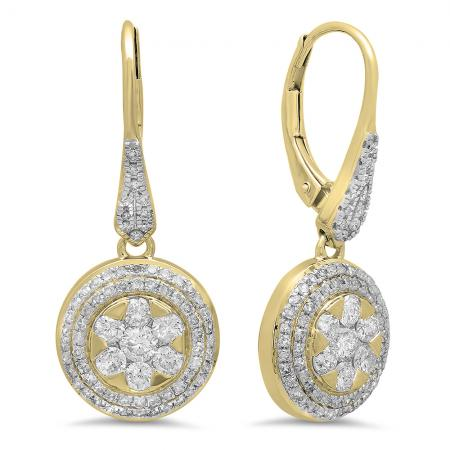 1.30 Carat (ctw) 18K Yellow Gold Round Cut White Diamond Ladies Cluster Style Drop Earrings