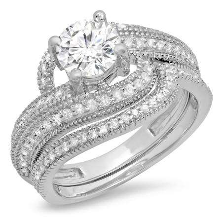 1.50 Carat (Ctw) 10K White Gold Round Cut Diamond Ladies Twisted Bridal Engagement Ring With Matching Band Set 1 1/2 CT