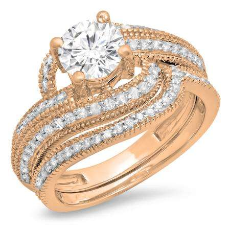 1.50 Carat (Ctw) 14K Rose Gold Round Cut Diamond Ladies Twisted Bridal Engagement Ring With Matching Band Set 1 1/2 CT