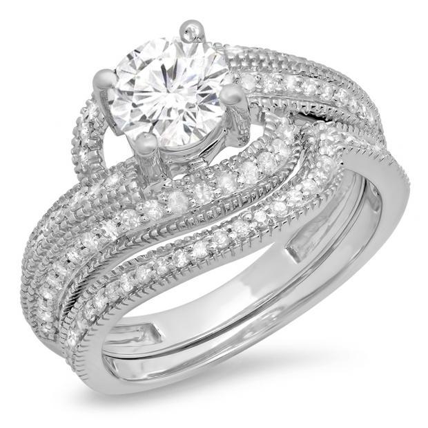 1.50 Carat (Ctw) 14K White Gold Round Cut Diamond Ladies Twisted Bridal Engagement Ring With Matching Band Set 1 1/2 CT