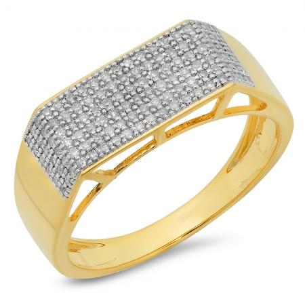 0.40 Carat (ctw) 10K Yellow Gold Round White Diamond Men