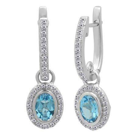 1.50 Carat (ctw) 14K White Gold Oval Cut Blue Topaz & Round Cut White Diamond Ladies Halo Style Dangling Drop Earrings