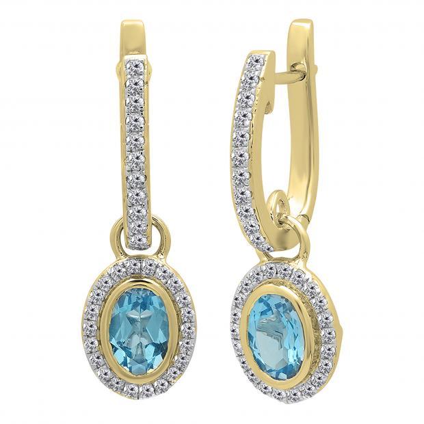 1.50 Carat (ctw) 14K Yellow Gold Oval Cut Blue Topaz & Round Cut White Diamond Ladies Halo Style Dangling Drop Earrings