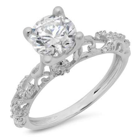 Sterling Silver Round White Cubic Zirconia Ladies Vintage Style Split Shank Bridal Engagement Ring