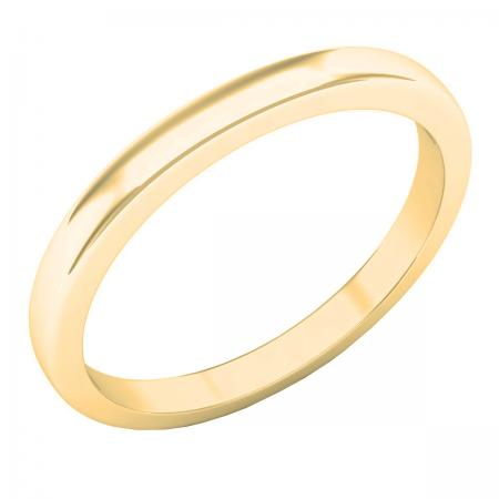 1.6 mm Round Ladies Plain Polished Shiny Edged Traditional Fit Gold Band, 10K Yellow Gold