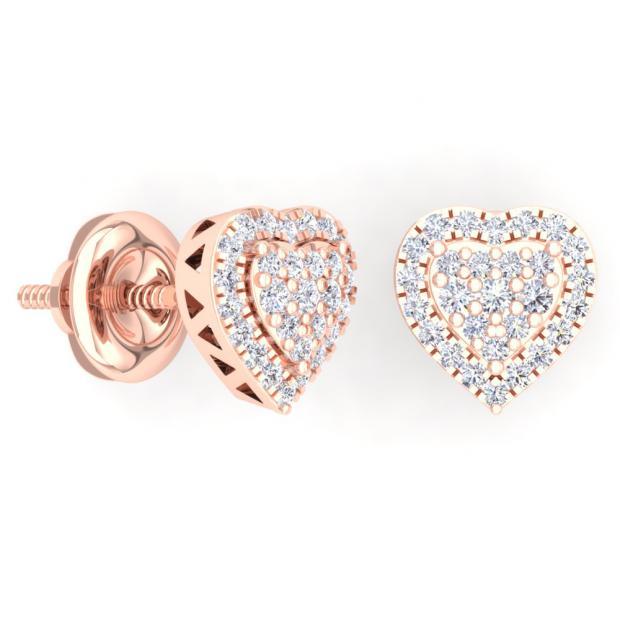 5c0a232d3 0.40 Carat (Ctw) 10K Rose Gold Round Cut White Diamond Ladies Heart Shaped Stud  Earrings