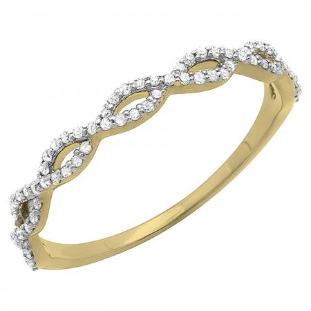 0.18 Carat (ctw) 10K Yellow Gold Round Diamond Ladies Swirl Anniversary Wedding Band Stackable Ring 1/5 CT