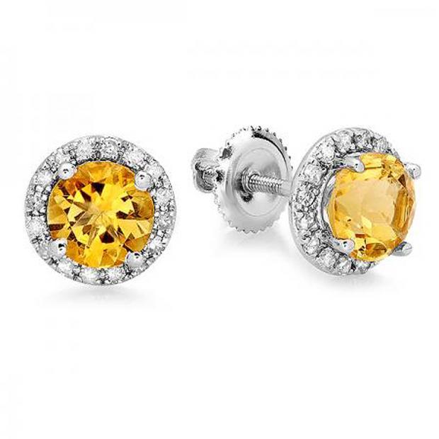 1.85 Carat (ctw) 10K White Gold Round Yellow Citrine & White Diamond Ladies Halo Style Stud Earrings 2 CT