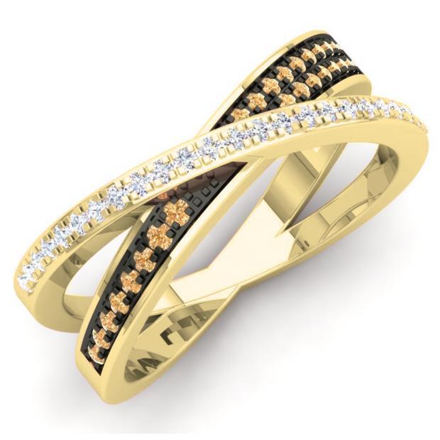 0.20 Carat (Ctw) 18K Yellow Gold Round Champagne & White Diamond Ladies Infinity Crossover Wedding Anniversary Band Ring 1/5 CT