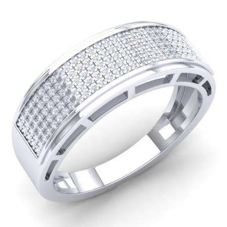 0.40 Carat (Ctw) 14k White Gold Round White Diamond Men