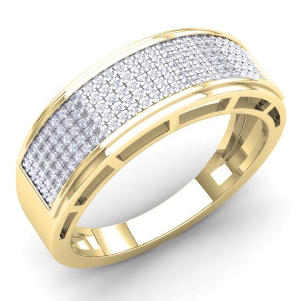 0.40 Carat (Ctw) 14k Yellow Gold Round White Diamond Men