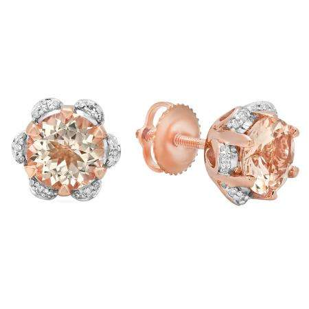 1.90 Carat (Ctw) 18K Rose Gold Round Cut Morganite & White Diamond Ladies Flower Shaped Stud Earrings