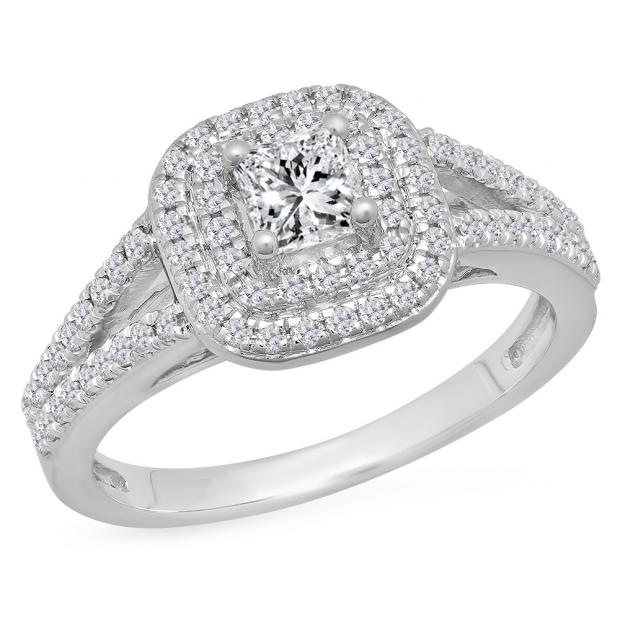 1.00 Carat (Ctw) 14K White Gold Princess & Round Cut White Diamond Ladies Split Shank Halo Bridal Engagement Ring 1 CT