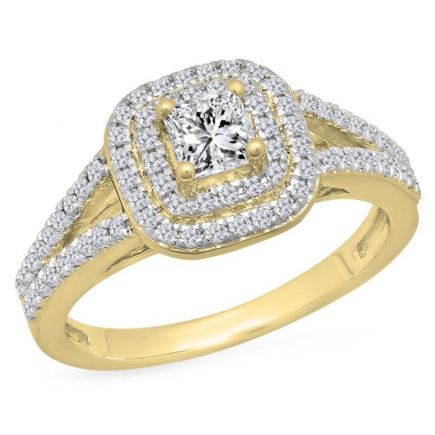 1.00 Carat (Ctw) 14K Yellow Gold Princess & Round Cut White Diamond Ladies Split Shank Halo Bridal Engagement Ring 1 CT