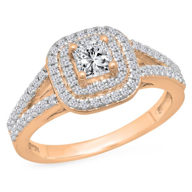 1.00 Carat (Ctw) 18K Rose Gold Princess & Round Cut White Diamond Ladies Split Shank Halo Bridal Engagement Ring 1 CT