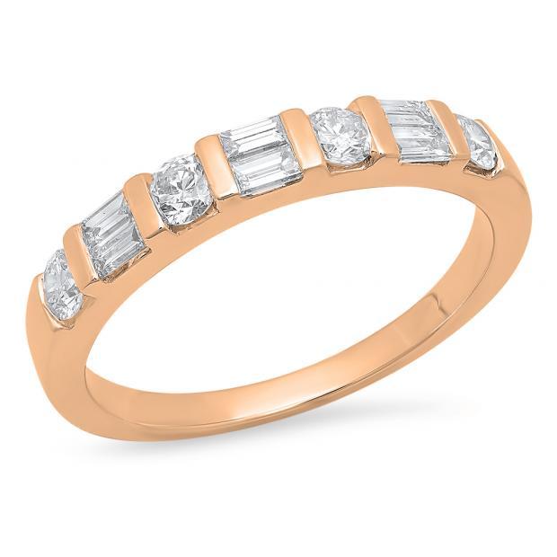 0.47 Carat (Ctw) 10K Rose Gold Round & Baguette Cut White Diamond Ladies Anniversary Wedding Band Stackable Ring 1/4 CT