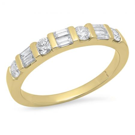 0.47 Carat (Ctw) 10K Yellow Gold Round & Baguette Cut White Diamond Ladies Anniversary Wedding Band Stackable Ring 1/4 CT